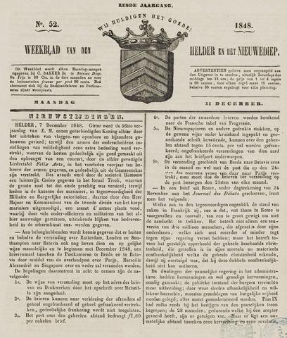 Weekblad van Den Helder en het Nieuwediep 1848-12-11