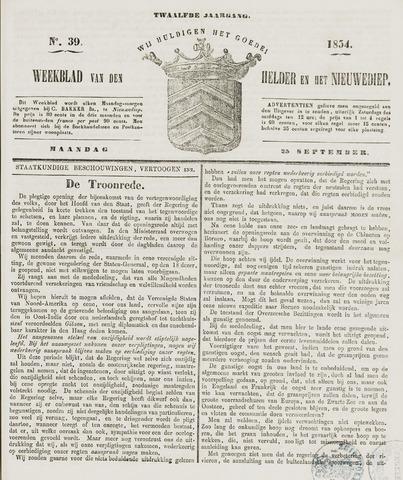 Weekblad van Den Helder en het Nieuwediep 1854-09-25