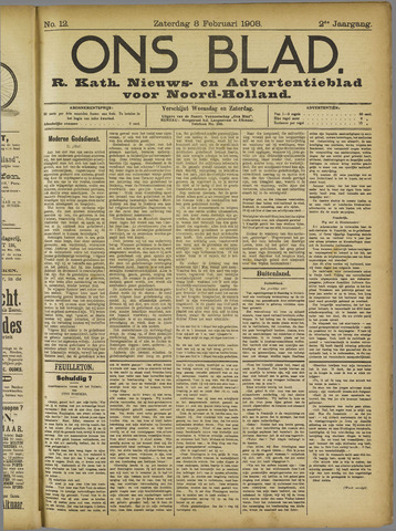 Ons Blad : katholiek nieuwsblad voor N-H 1908-02-08