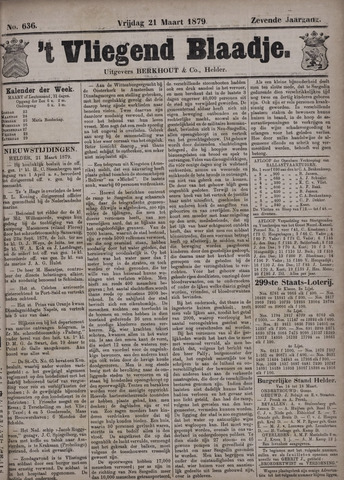 Vliegend blaadje : nieuws- en advertentiebode voor Den Helder 1879-03-21