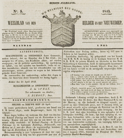 Weekblad van Den Helder en het Nieuwediep 1843-05-01