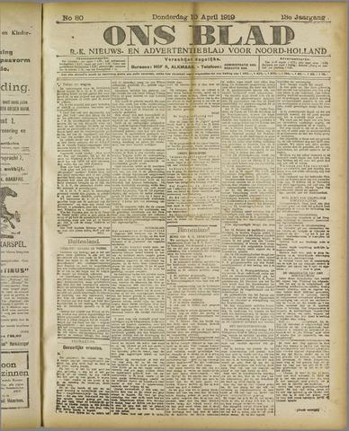 Ons Blad : katholiek nieuwsblad voor N-H 1919-04-10