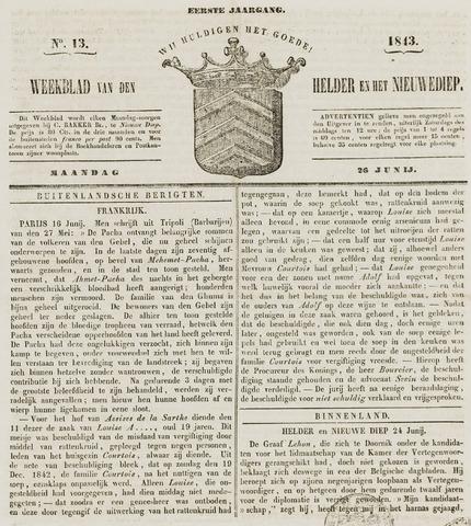 Weekblad van Den Helder en het Nieuwediep 1843-06-26