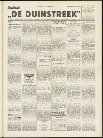 De Duinstreek 1954-10-01