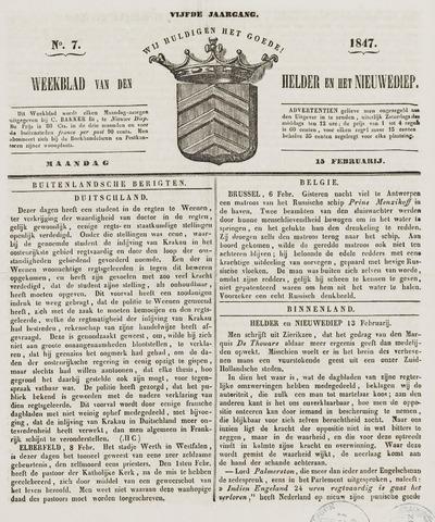 Weekblad van Den Helder en het Nieuwediep 1847-02-15