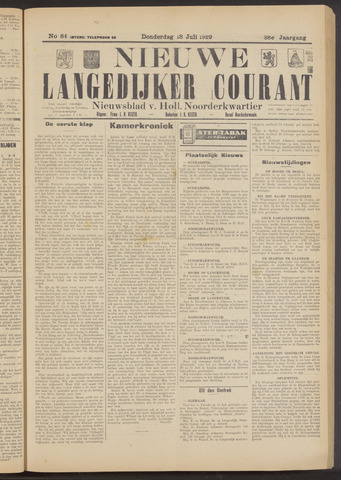 Nieuwe Langedijker Courant 1929-07-18