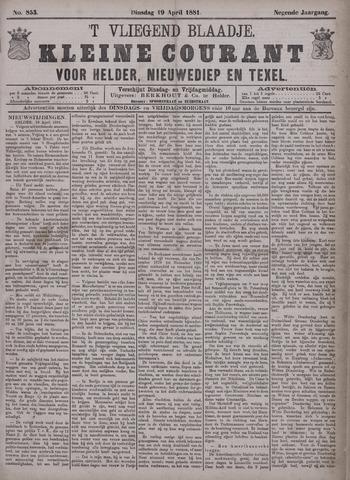 Vliegend blaadje : nieuws- en advertentiebode voor Den Helder 1881-04-19