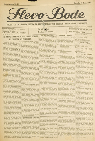 Flevo-bode: nieuwsblad voor Wieringen-Wieringermeer 1946-01-30