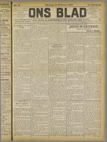 Ons Blad : katholiek nieuwsblad voor N-H 1917-02-13
