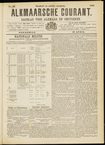 Alkmaarsche Courant 1906-04-19