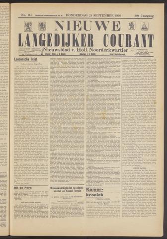 Nieuwe Langedijker Courant 1930-09-25