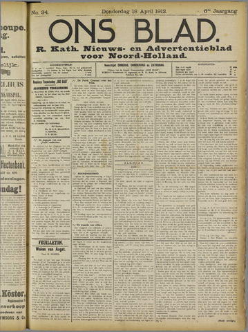 Ons Blad : katholiek nieuwsblad voor N-H 1912-04-18