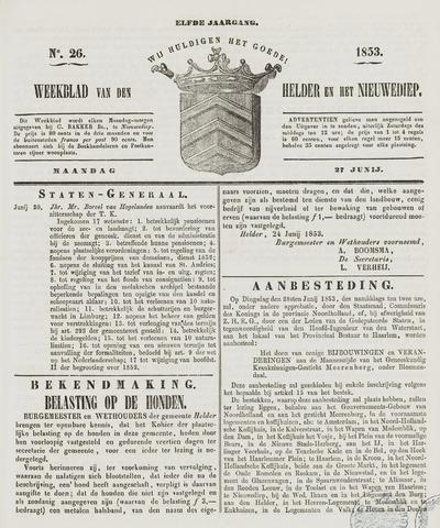 Weekblad van Den Helder en het Nieuwediep 1853-06-27