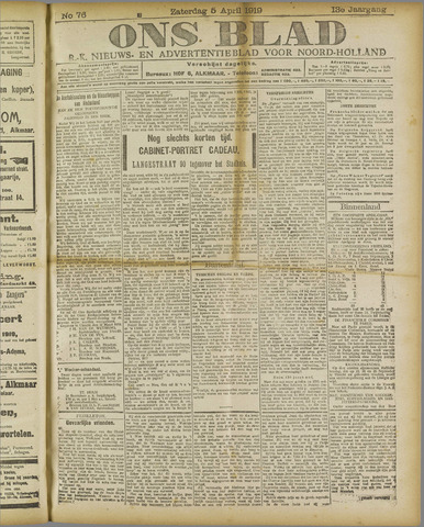 Ons Blad : katholiek nieuwsblad voor N-H 1919-04-05