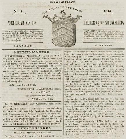 Weekblad van Den Helder en het Nieuwediep 1843-04-10