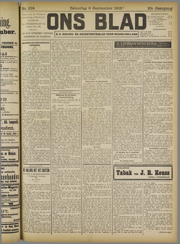 Ons Blad : katholiek nieuwsblad voor N-H 1916-09-09