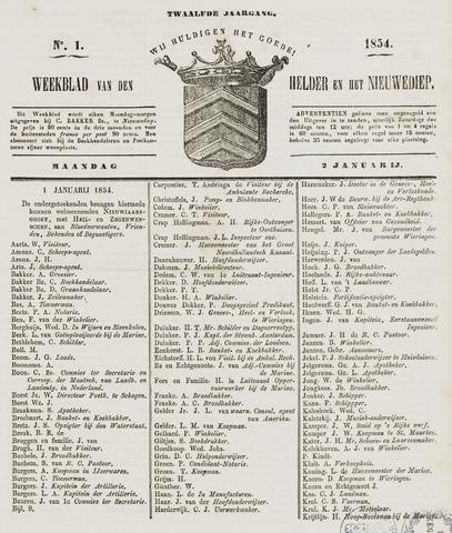 Weekblad van Den Helder en het Nieuwediep 1854-01-02