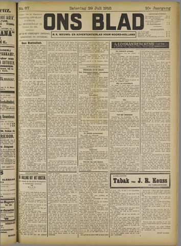Ons Blad : katholiek nieuwsblad voor N-H 1916-07-29