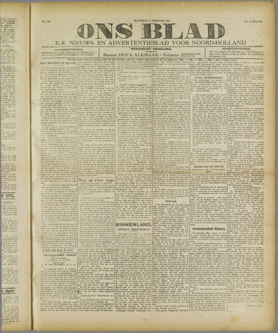 Ons Blad : katholiek nieuwsblad voor N-H 1921-02-09