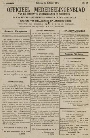 Mededeelingenblad Wieringermeer en Wieringen 1943-02-13