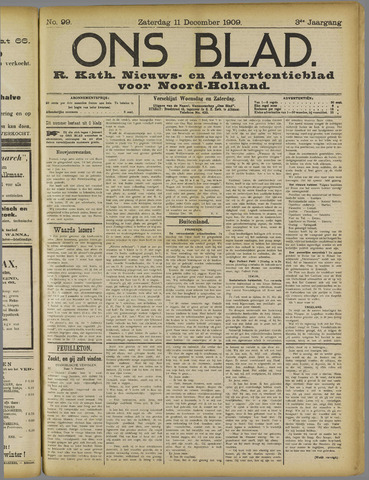Ons Blad : katholiek nieuwsblad voor N-H 1909-12-11