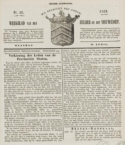 Weekblad van Den Helder en het Nieuwediep 1853-04-25
