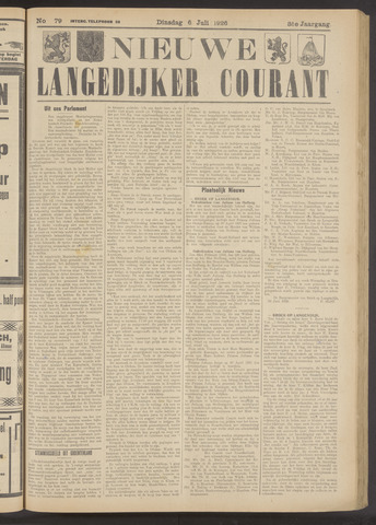 Nieuwe Langedijker Courant 1926-07-06