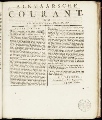 Alkmaarsche Courant 1816-09-09