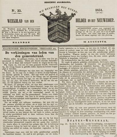 Weekblad van Den Helder en het Nieuwediep 1851-08-25