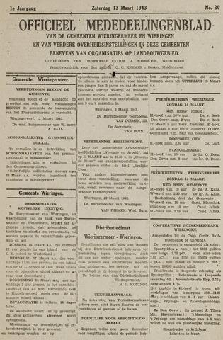 Mededeelingenblad Wieringermeer en Wieringen 1943-03-13