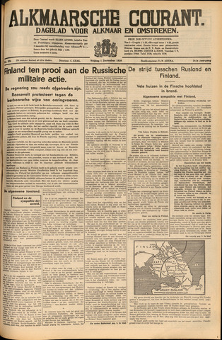 Alkmaarsche Courant 1939-12-01