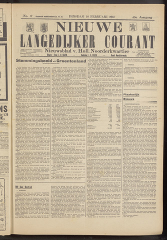 Nieuwe Langedijker Courant 1931-02-10