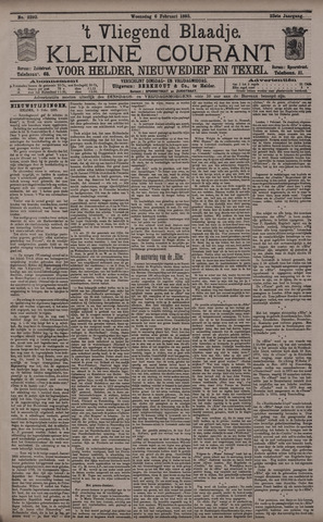 Vliegend blaadje : nieuws- en advertentiebode voor Den Helder 1895-02-06