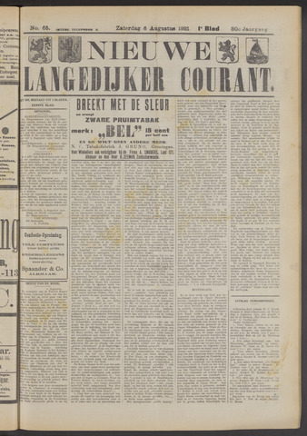 Nieuwe Langedijker Courant 1921-08-06