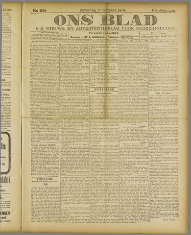 Ons Blad : katholiek nieuwsblad voor N-H 1919-10-18