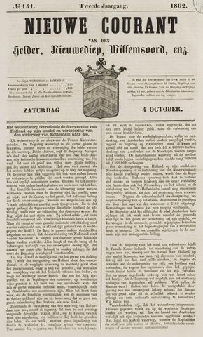 Nieuwe Courant van Den Helder 1862-10-04