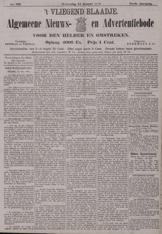 Vliegend blaadje : nieuws- en advertentiebode voor Den Helder 1875-01-13