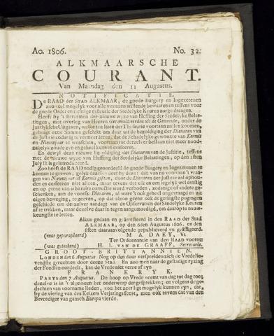 Alkmaarsche Courant 1806-08-11