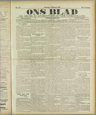 Ons Blad : katholiek nieuwsblad voor N-H 1921-02-01
