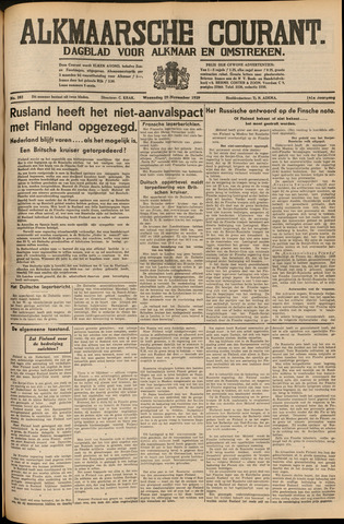 Alkmaarsche Courant 1939-11-29