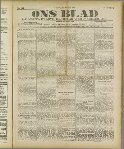 Ons Blad : katholiek nieuwsblad voor N-H 1921-01-10
