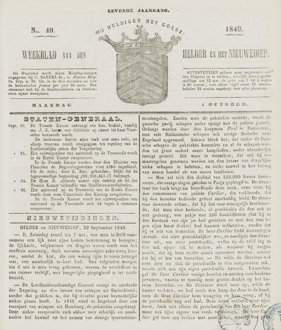 Weekblad van Den Helder en het Nieuwediep 1849-10-01