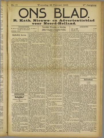 Ons Blad : katholiek nieuwsblad voor N-H 1908-02-26