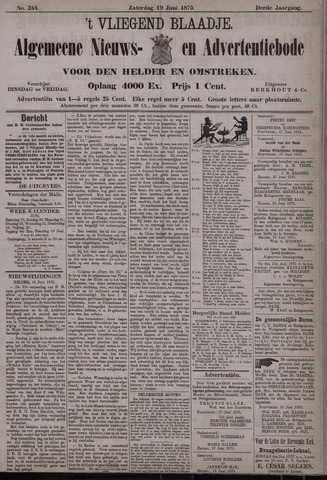 Vliegend blaadje : nieuws- en advertentiebode voor Den Helder 1875-06-19