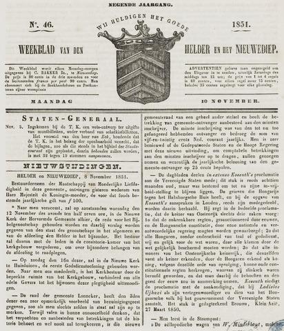 Weekblad van Den Helder en het Nieuwediep 1851-11-10