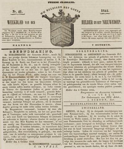 Weekblad van Den Helder en het Nieuwediep 1844-10-07