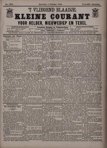 Vliegend blaadje : nieuws- en advertentiebode voor Den Helder 1884-10-04