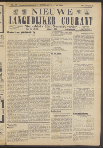 Nieuwe Langedijker Courant 1930-08-12