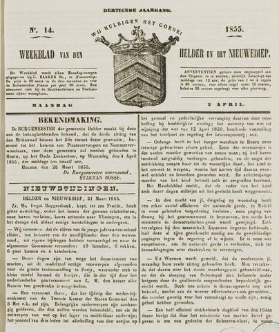 Weekblad van Den Helder en het Nieuwediep 1855-04-02