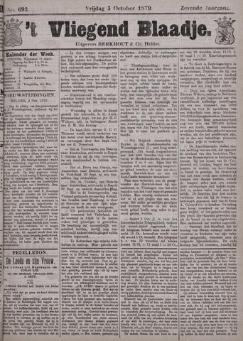 Vliegend blaadje : nieuws- en advertentiebode voor Den Helder 1879-10-03